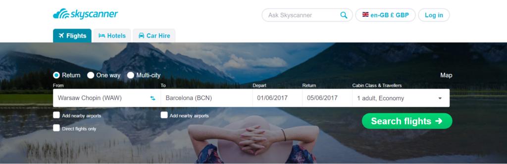 Screenprint Skyscanner