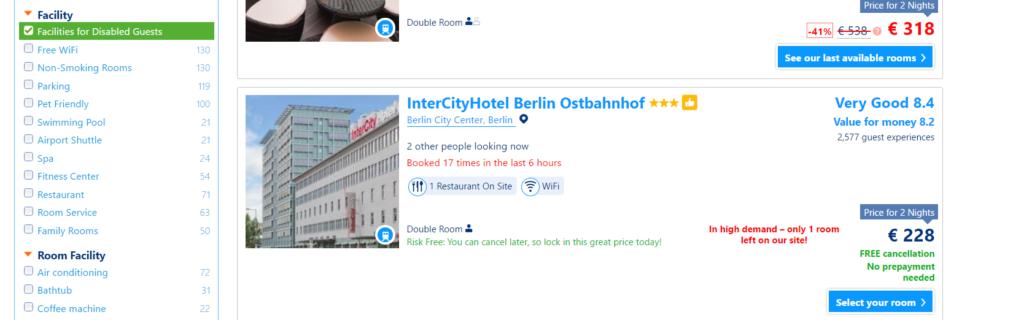 Screenprint z booking.com